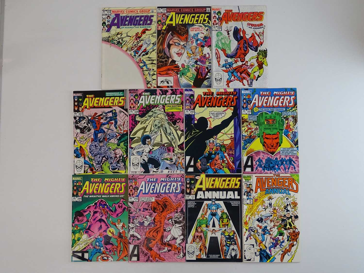 AVENGERS #233, 234, 236, 237, 238, 242, 243, 244, 245 + Annuals #12 & 15 - (11 in Lot) - (1983/