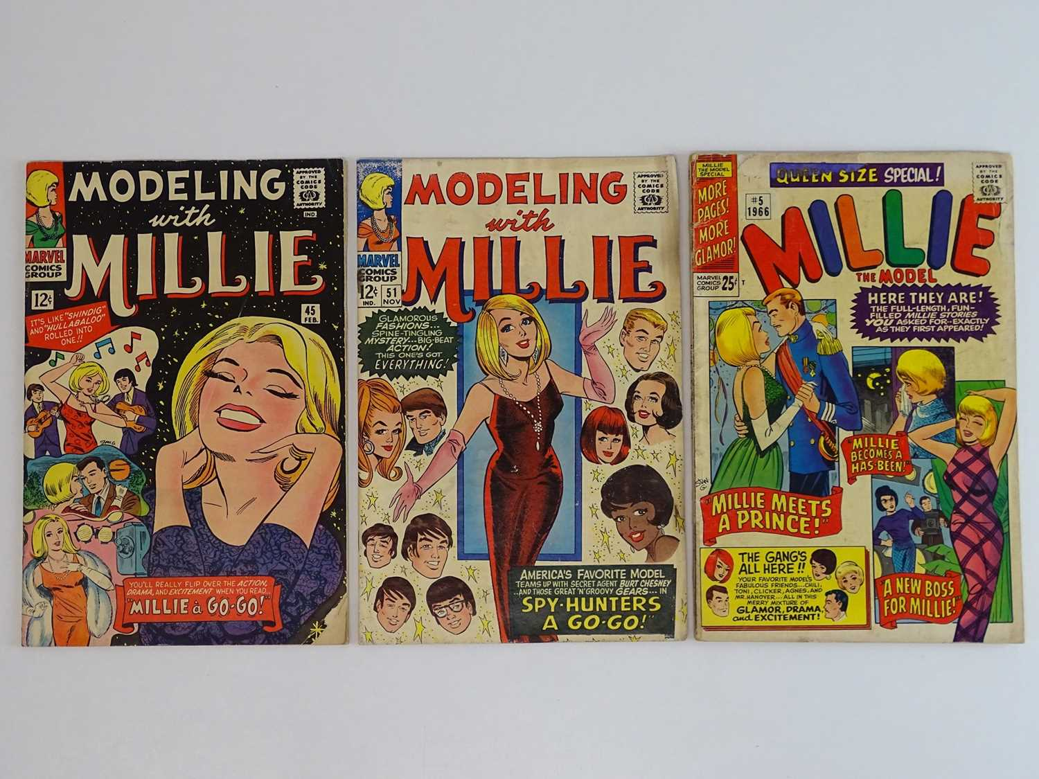 MODELLING WITH MILLIE #145 & 51 + MILLIE THE MODEL QUEEN-SIZE SPECIAL #5 - (3 in Lot) - (1965/66 -