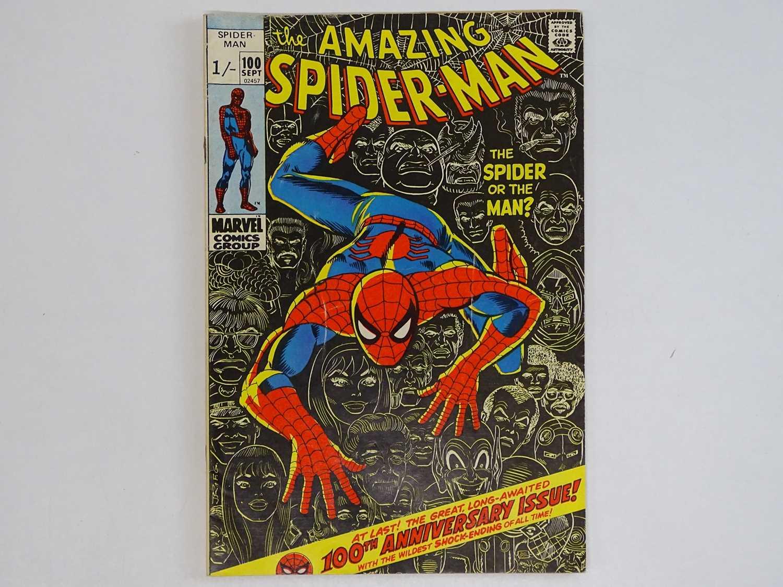 AMAZING SPIDER-MAN #100 (1971 - MARVEL - UK Price Variant) - Green Goblin, Vulture, Lizard, Doctor