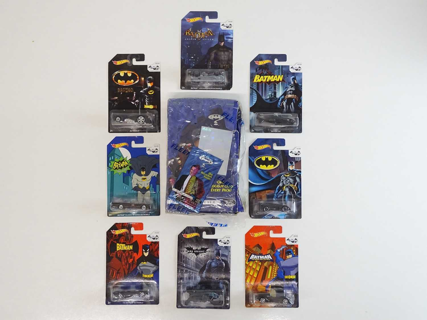 BATMAN LOT (9 in Lot) - Selection of various Batmobiles (8) from Hot Wheels all presented sealed