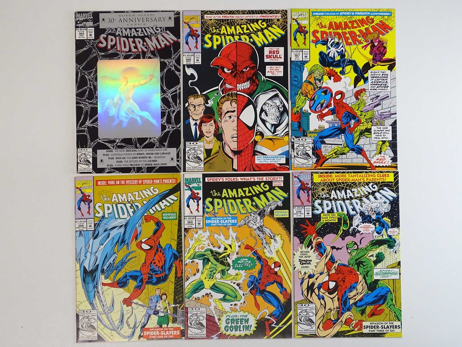 AMAZING SPIDER-MAN #365, 366, 367, 368, 369, 370 - (6 in Lot) - (1992 - MARVEL) - Includes First