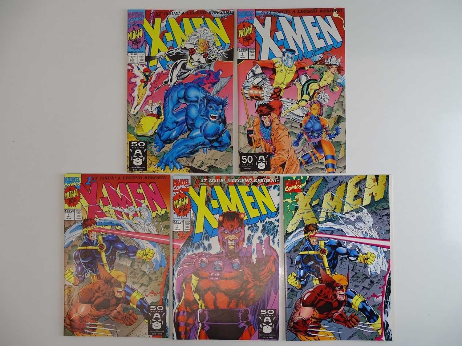 X-MEN #1 - (5 in Lot) - (1991 - MARVEL) - Complete set of ALL five variant covers - Jim Lee
