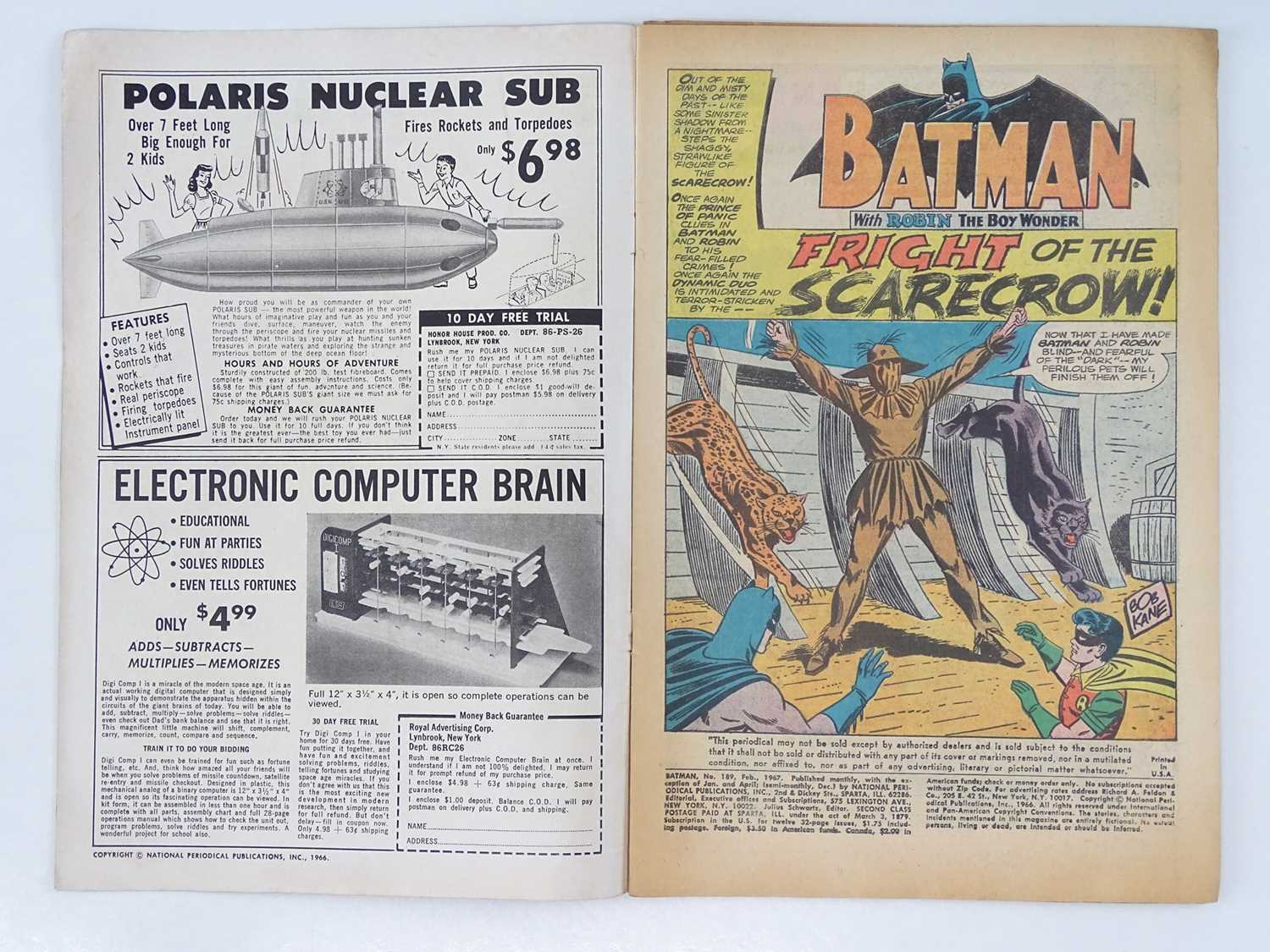 BATMAN #189 - (1967 - DC - UK Cover Price) - KEY Book - First Silver Age appearance of the Scarecrow - Image 3 of 10