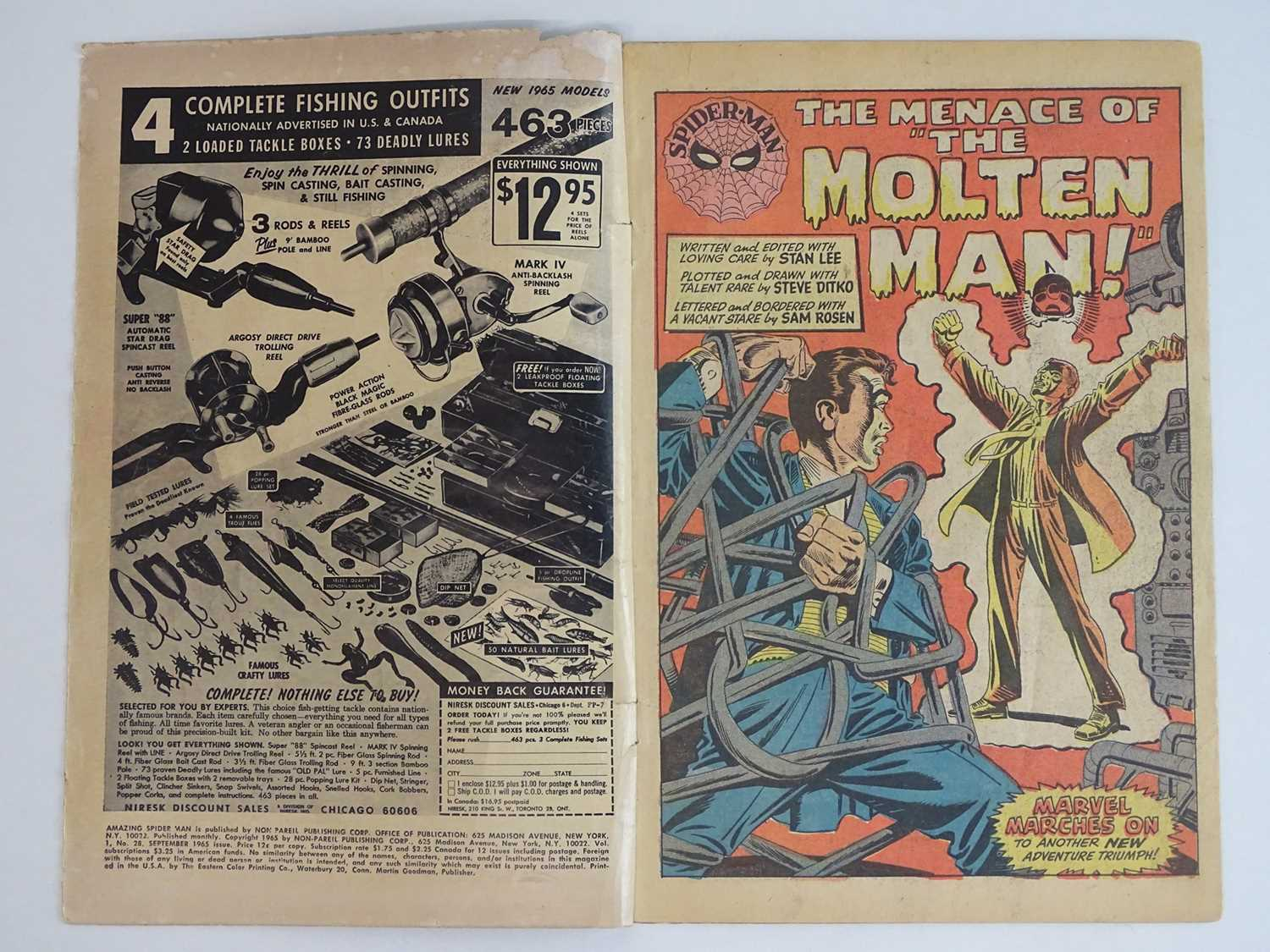 AMAZING SPIDER-MAN #28 - (1965 - MARVEL) - Origin and First appearance of Molten Man + Peter - Image 3 of 9