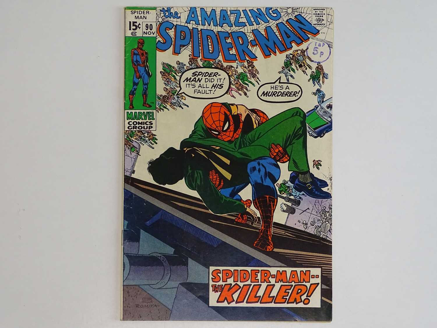 AMAZING SPIDER-MAN # 90 - (1970 - MARVEL - Uk Cover Price) - 'Death' of Captain Stacy + Doctor