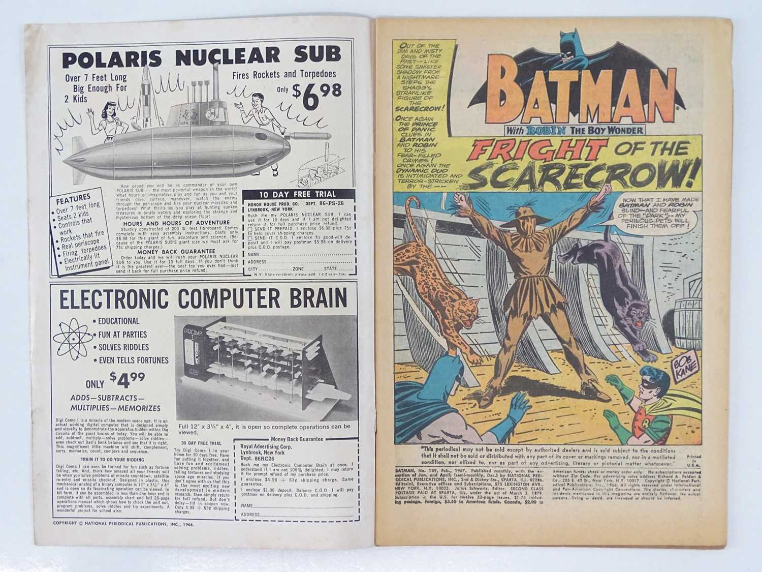 BATMAN #189 - (1967 - DC - UK Cover Price) - KEY Book - First Silver Age appearance of the Scarecrow - Image 3 of 9
