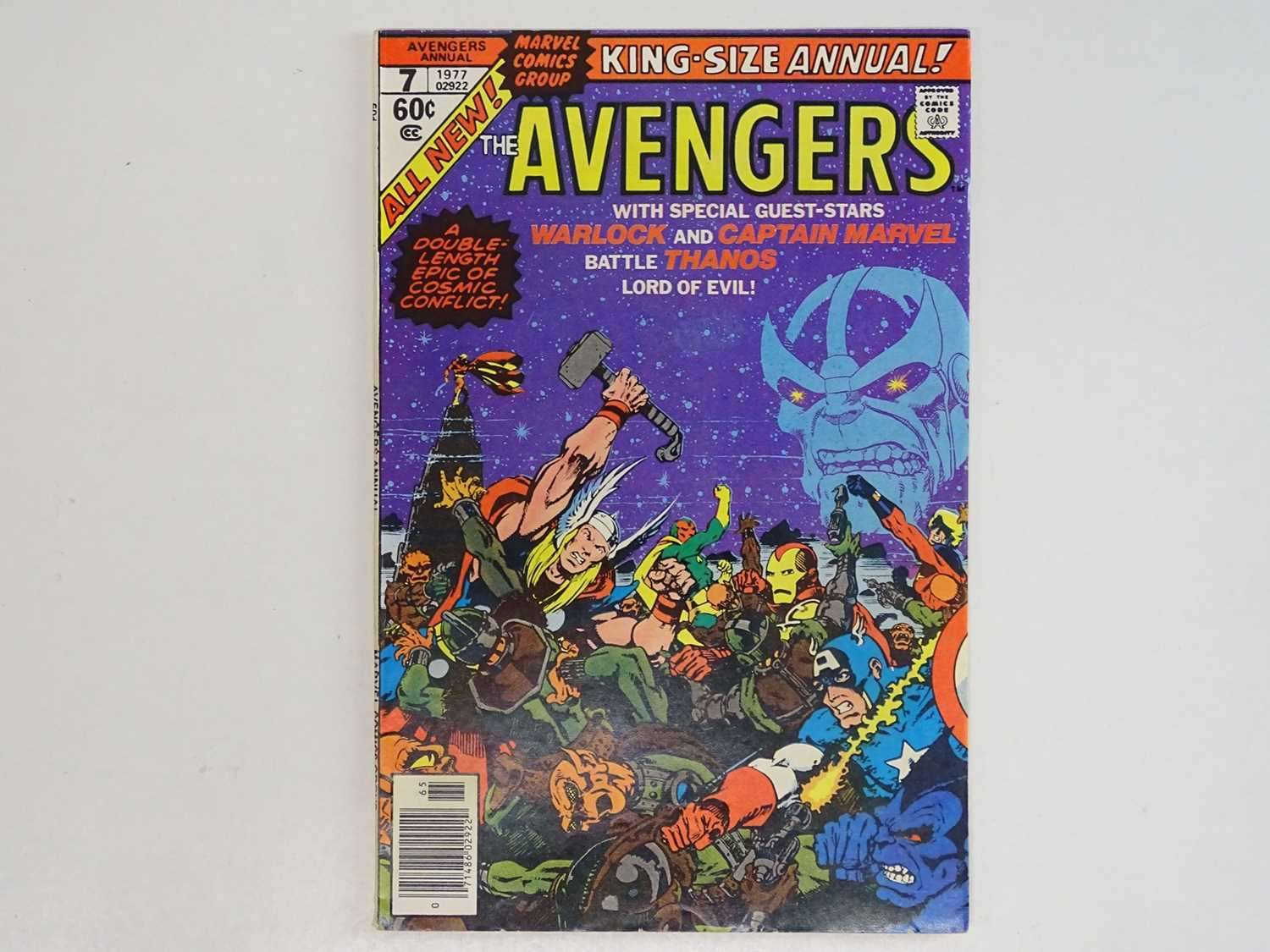 """AVENGERS KING-SIZE ANNUAL #7 - (1977 - MARVEL) - Includes """"Death"""" of Adam Warlock + Thanos,"""