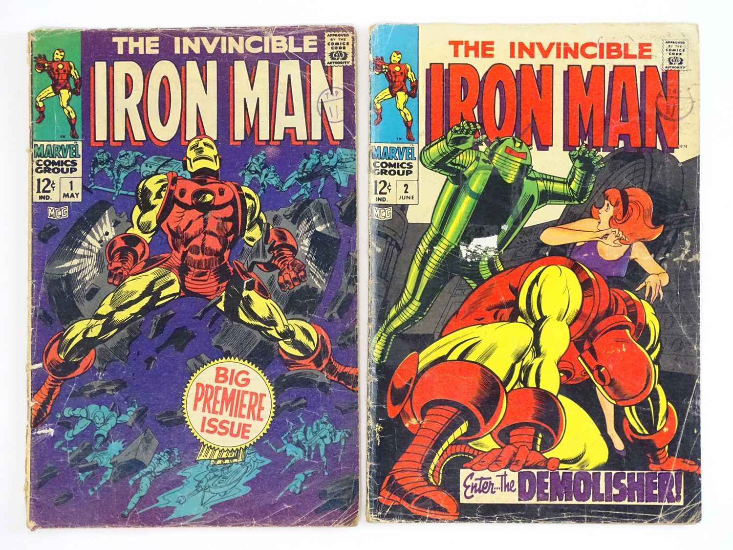 IRON MAN #1 & 2 (1968 - MARVEL - UK Cover Price) - Origin of Iron Man retold + First appearance of