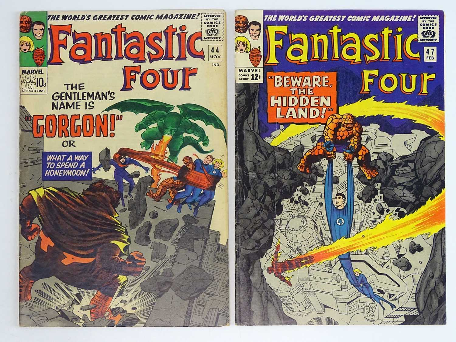 FANTASTIC FOUR #44 & 47 - (2 in Lot) - (1965/66 - MARVEL - US Price & UK Price Variant) - Includes