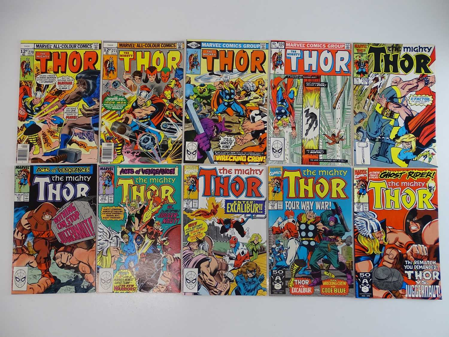 THOR #270, 271, 304, 324, 374, 411, 412, 427, 428, 429 - (10 in Lot) - (1978/90 - MARVEL - US