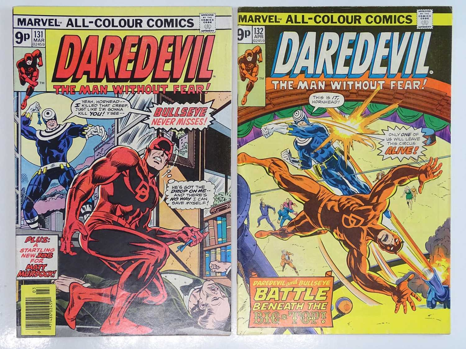 DAREDEVIL #131 & 132 - (2 in Lot) - (1976 - MARVEL - UK Price Variant) - First & Second appearance