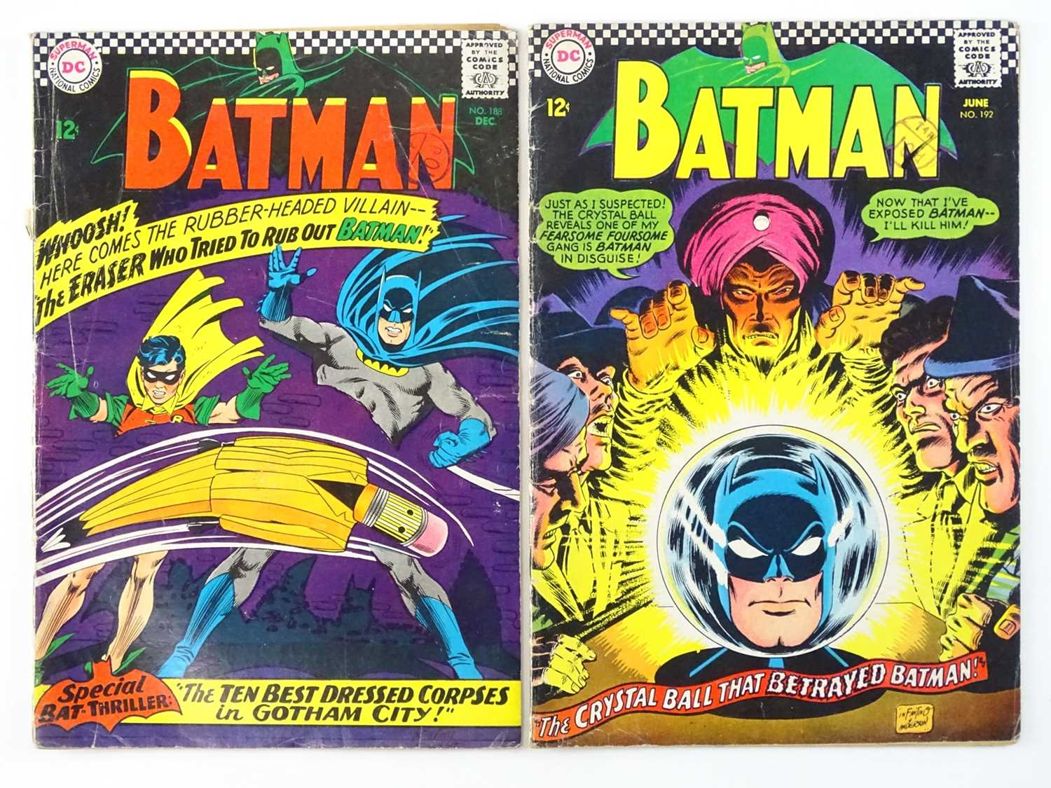 BATMAN #188 & 192 - (2 in Lot) - (1966/67 - DC - UK Cover Price) - Includes First appearance