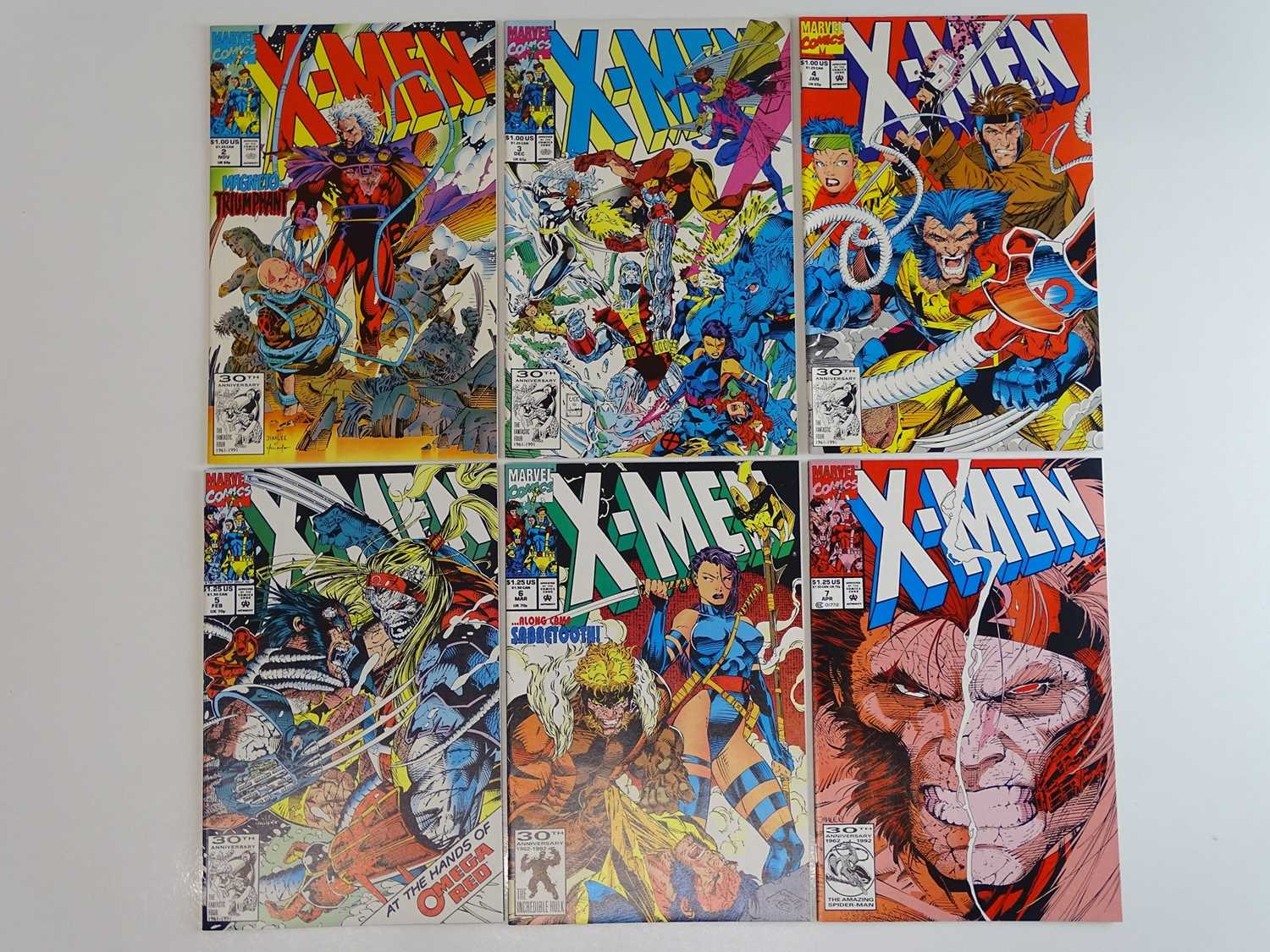 X-MEN #2, 3, 4, 5, 6, 7 - (6 in Lot) - (1991/92 - MARVEL) - Includes First & Second appearance of