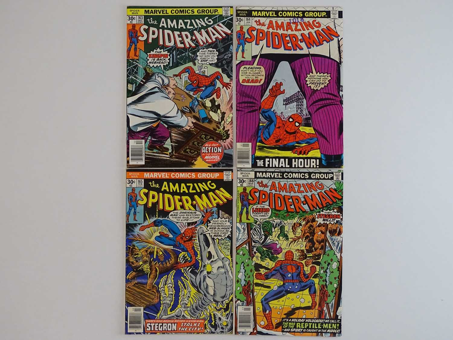 AMAZING SPIDER-MAN #163, 164, 165, 166 - (4 in Lot) - (1976/77 - MARVEL) - Includes Kingpin, Lizard,