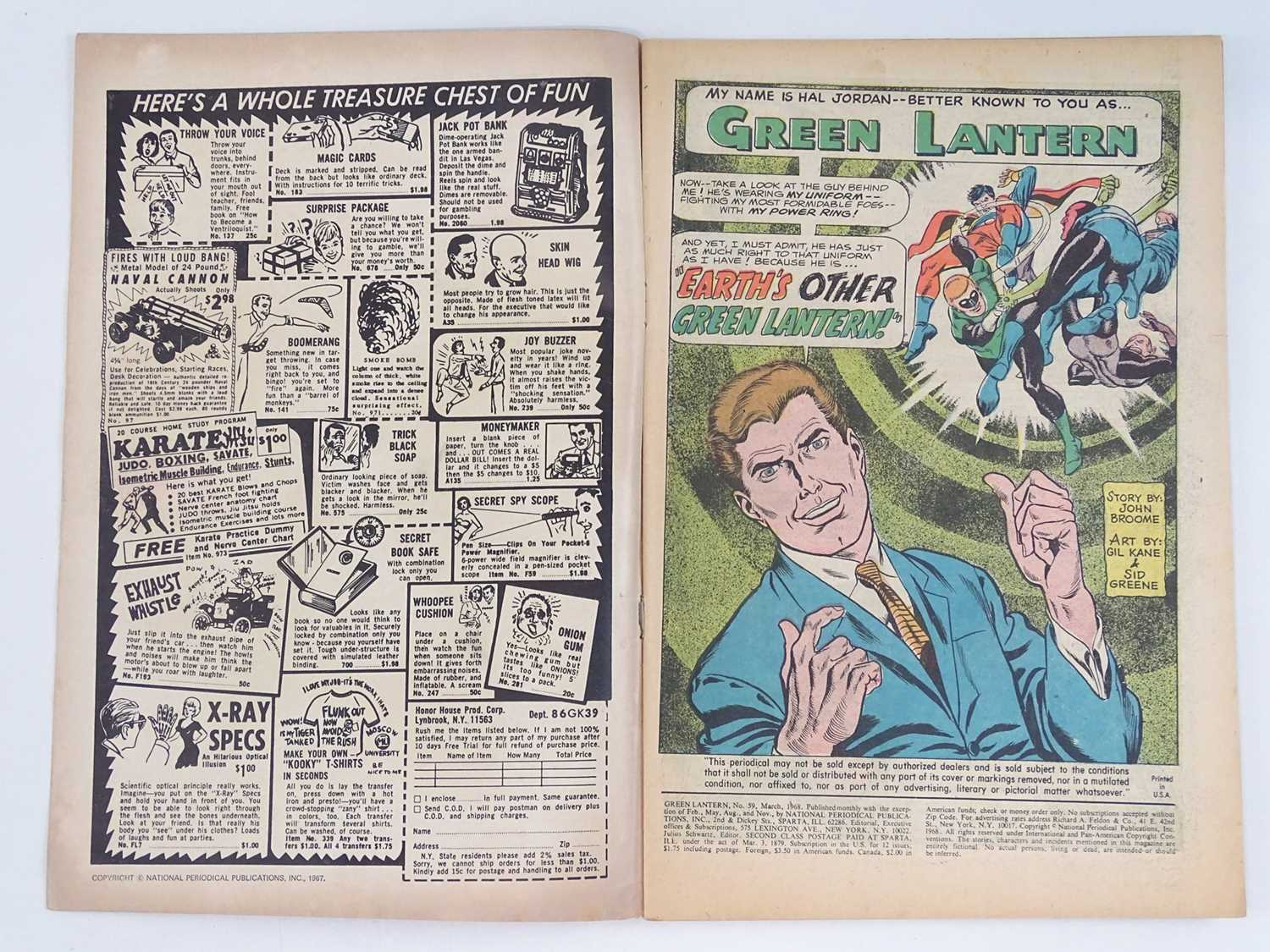 GREEN LANTERN #59 - (1968 - DC - UK Cover Price) - Classic DC Cover + KEY Book - First appearance of - Image 3 of 9