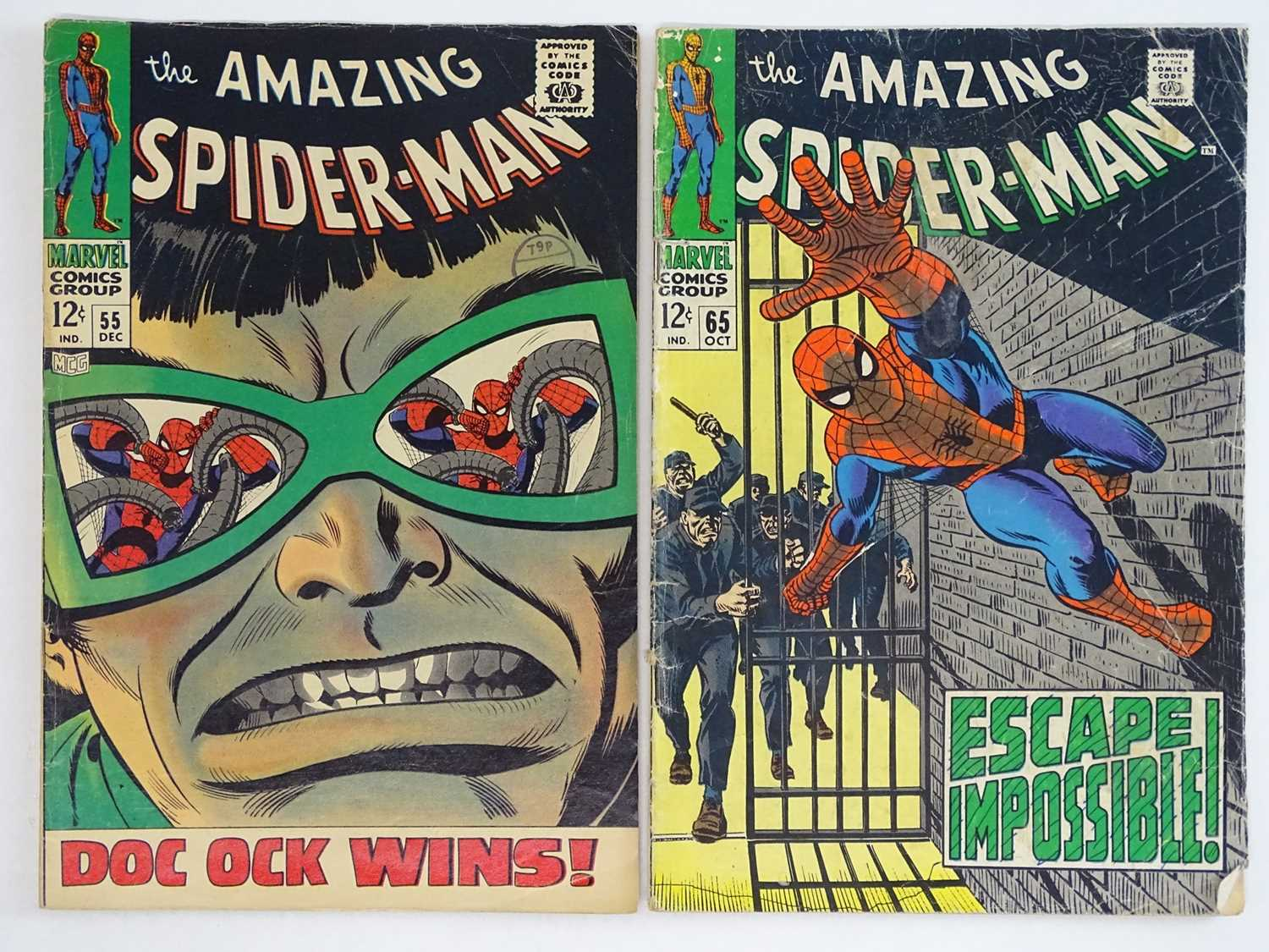 AMAZING SPIDER-MAN #55 & 65 - (2 in Lot) - (1967/68 - MARVEL - UK Cover Price) - Includes Doctor