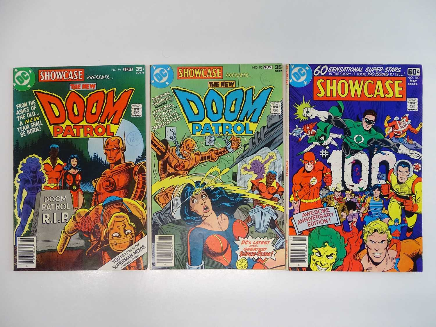 SHOWCASE #94, 95, 100 - (3 in Lot) - (1977/78 - DC - UK Cover Price) Includes Origin and First