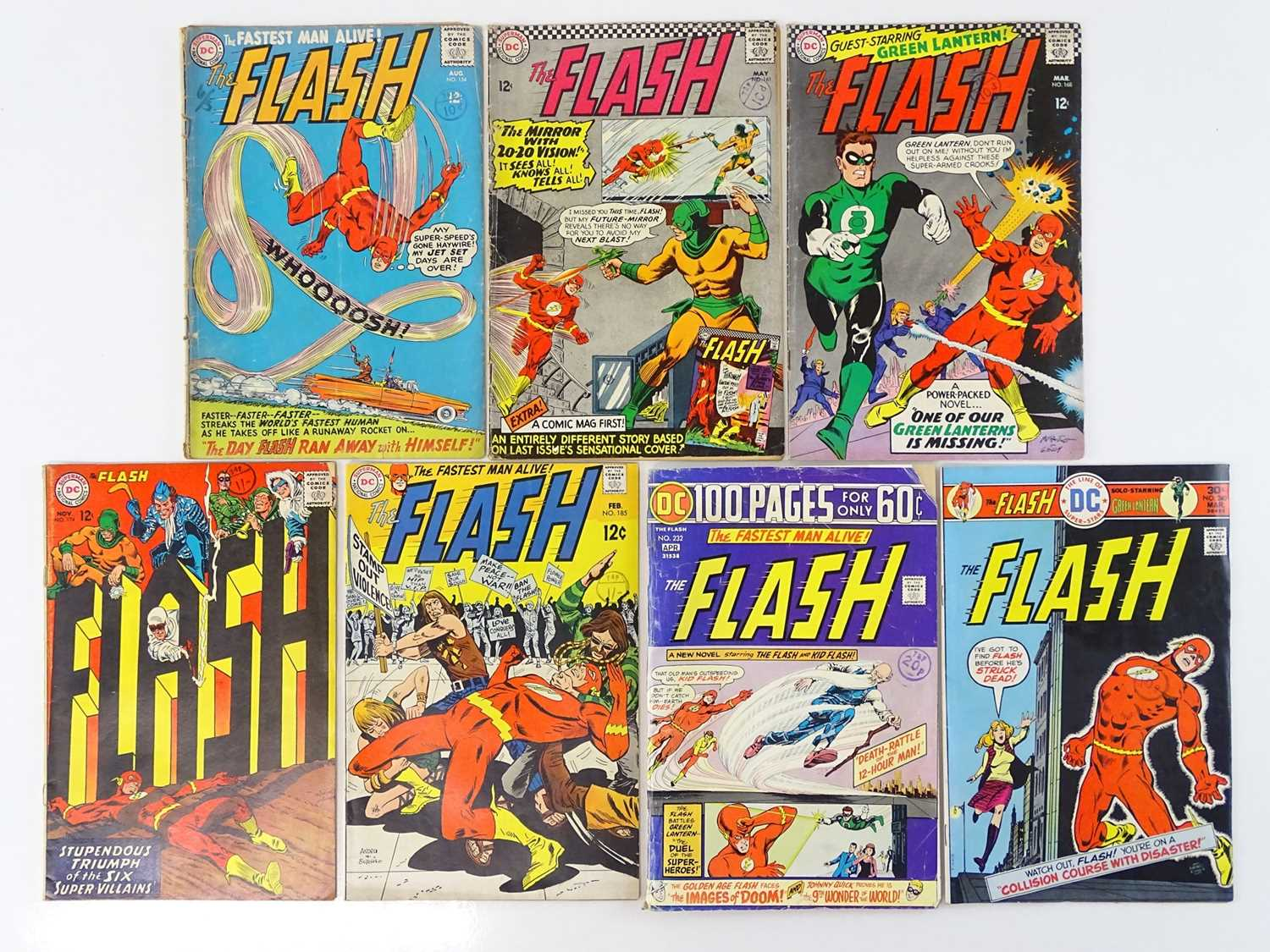 FLASH #154, 161, 168, 174, 185, 232, 240 - (7 in Lot) - (1965/76 - DC - UK Cover Price) - Includes