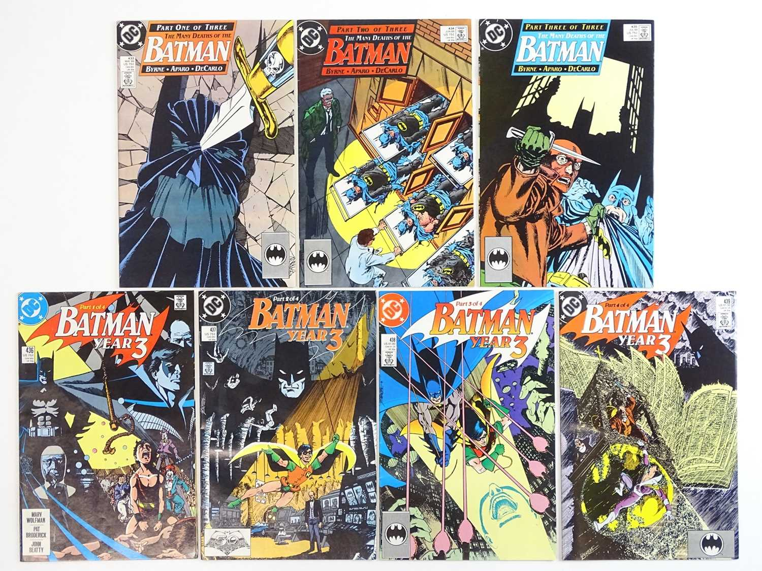 BATMAN #433, 434, 435, 436, 437, 438, 439 - (7 in Lot) - (1989 - DC) - First Printing - Two complete