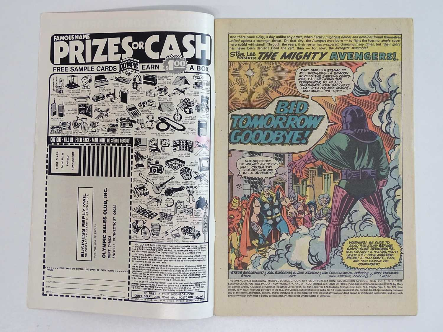 AVENGERS #129 - (1974 - MARVEL) - Classic Kang Cover + Kang the Conqueror, Ram-Tut appearances - Ron - Image 3 of 9