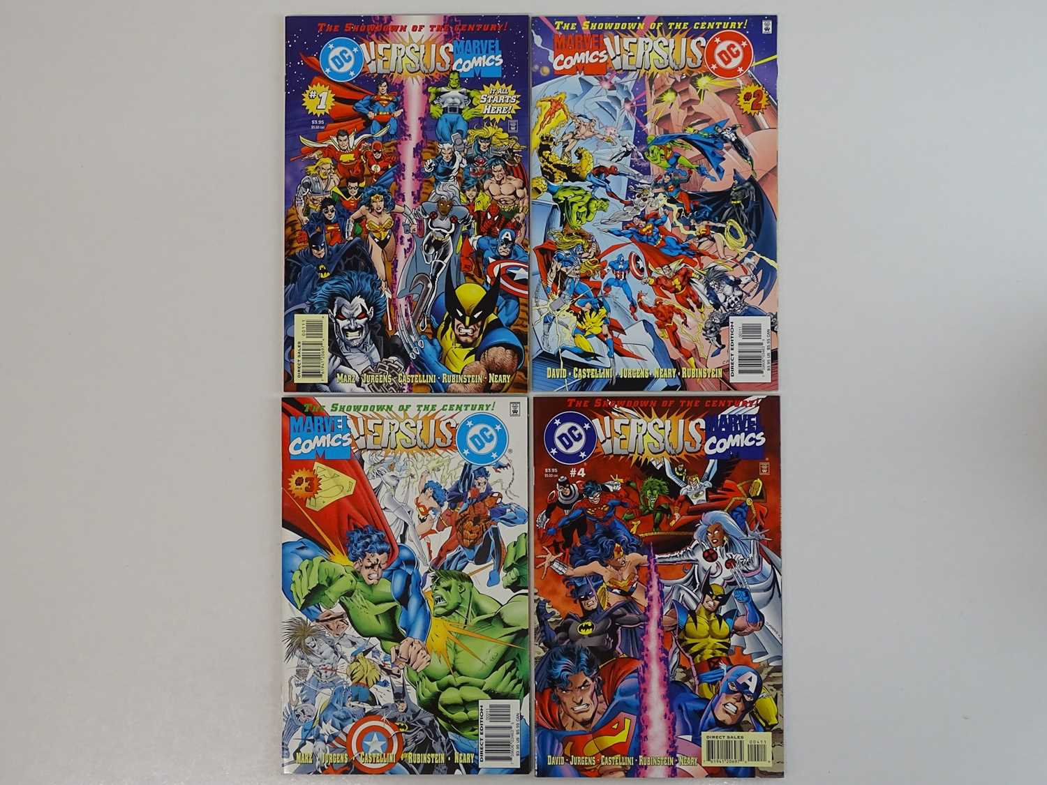 DC VERSUS MARVEL COMICS #1, 2, 3, 4 - (4 in Lot) - (1996 - MARVEL/DC) - Complete 4 x Issue Limited