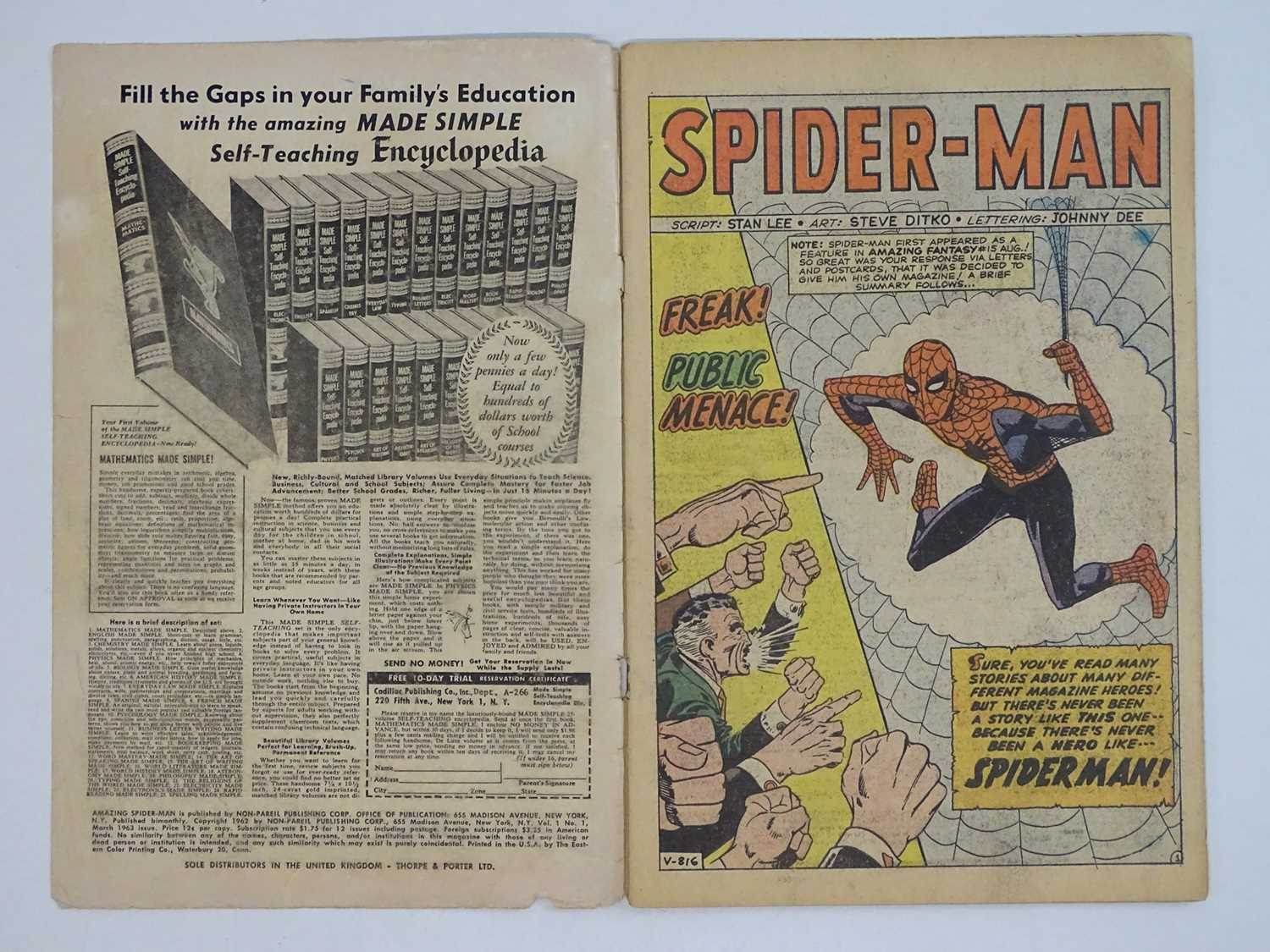 AMAZING SPIDER-MAN #1 - (1963 - MARVEL - UK Price Variant) - First appearance of Spider-Man un his - Image 7 of 27