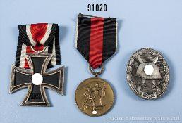 Konv. EK 2 1939, Anschlussmedaille Sudetenland und VWA in Silber, Zinkausführung,...