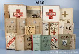 """Konv. ca. 50 Bücher und Hefte Rotes Kreuz VK, u. a. 2 x """"Unter dem Roten Kreuz im..."""