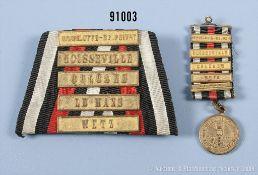 """Ordenspange zur KDM 1870/71, mit 6 Gefechtsspangen, """"Gravelott-St. Privat - Noisseville,..."""
