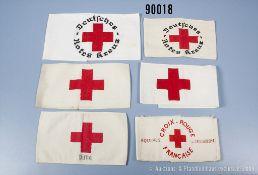 """Konv. 6 Armbinden, 1 x mit Aufdruck """"Pirna"""" und 1 x """"Croix-Rouge Francaise"""" sowie 2 x..."""