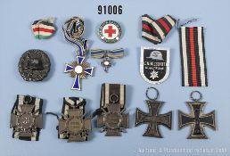 Konv. 2 EK 2 1914, 3 EKF, VWA in Schwarz, Mutterkreuz in Bronze mit dazugehöriger...