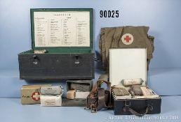 Ausrüstungskonvolut, kleiner Verbandskasten 3. Reich, neu lackiert mit Inhalt,...