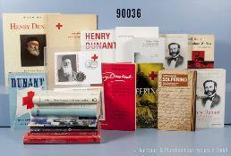 Konv. 22 Bücher und Broschüren NK, überwiegend Henry Dunant und Schlacht von Solferino,...