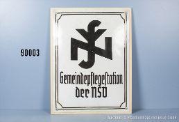 """Emailleschild 3. Reich """"Gemeindepflegestation der NSV"""", teilweise stärker restauriert,..."""