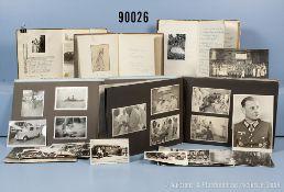 """Konv. 3 Lazarett-Tagebücher 2. WK, 2 Fotoalben """"Zur Erinnerung a.d. Reservelazarett..."""