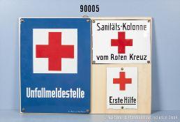 """Konv. 3 Emailleschilder, """"Unfallmeldestelle"""", """"Sanitäts-Kolonne vom Roten Kreuz"""" und..."""