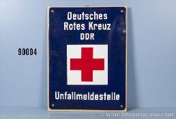 """Emailleschild DDR """"Unfallmeldestelle"""", aufgeschraubt auf Sperrholzplatte, Größe ca. 30 x..."""