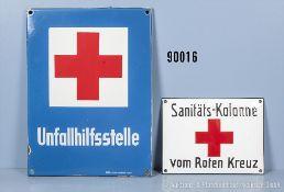 """Konv. 2 Emailleschilder, """"Unfallhilfsstelle"""" und """"Sanitäts-Kolonne vom Roten Kreuz"""",..."""