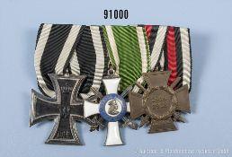"""3er Ordenspange, EK2 1914, Sachsen Albrechtsorden, Ritterkreuz 2. Klasse, Hersteller """"G""""..."""