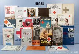 umfangreiches Konvolut von ca. 100 Bücher und Broschüren NK zum Thema Rotes Kreuz,...