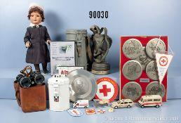 """Konv. Verschiedenes u.a. Puppe einer DRK-Schwester, H ca. 40 cm, Spendensammeldose """"Gau..."""