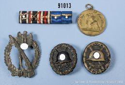 Konv. Infanterie-Sturmabzeichen in Silber, Zinkausführung, 2 x VWA in Schwarz, 5er...