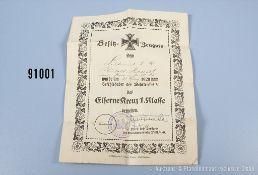 """Konv. EK 1 1914 Hersteller """"KO"""" unterhalb des Nadelhakens, im dazugehörigen Etui sowie..."""
