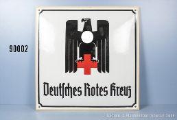 Emailleschild 3. Reich, teilweise restauriert, aufgeschraubt auf Sperrholzplatte, Größe...