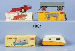 Konv. 3 Dinky Toys Anhänger, dabei 190 Caravan, 321 Massey Harris Manure Spreader und ...