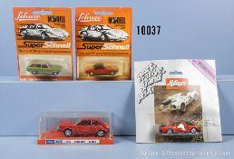 Konv. 4 Schuco Fahrzeuge, dabei 301 620 VW Scirocco, 301 846 Opel Ascona Voyage, 302 869 ...