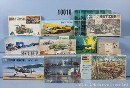 Konv. Verschiedenes, dabei 15 Bausätze für Fahrzeuge, Flugzeuge, Panzer usw., sowie ...