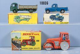 Konv. 3 Dinky Toys Fahrzeuge, dabei 33B Simca Cargo, 279 Aveling Barford Diesel Roller ...