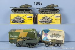 """Konv. 4 Militärfahrzeuge, dabei 2 x Soldio M-47 Tank """"Patton"""", Solido Half Track M3 und ..."""