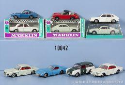 Konv. 10 Märklin Rak Fahrzeuge, dabei u.a. 1803 Ford 20 M, 1817 Mercedes 250, 1835 Opel ...